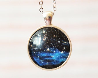 Cosmic Pendant Necklace -Stars Clusters NGC 1850- Galaxy Pendant Series