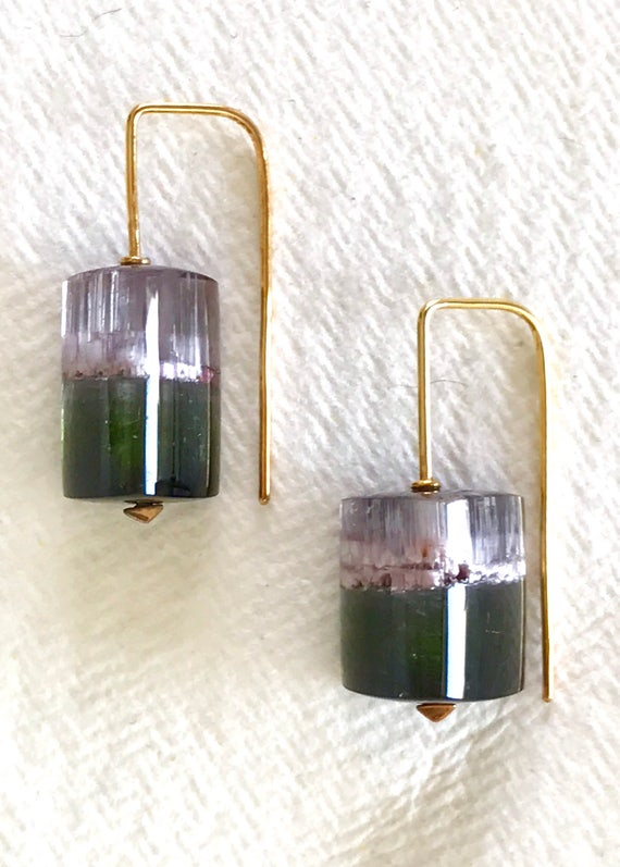 Watermelon tourmaline crystal and solid 18k gold earrings OOAK
