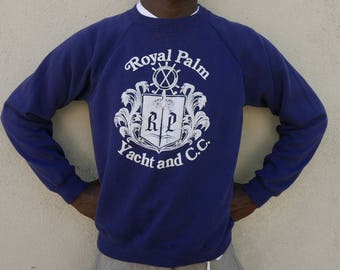 Vintage 80s Navy blue sweatshirt Royal Palm Yacht and C.C. Made in USA - size Large L