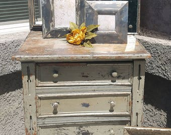 Primitive Small Hutch, Rustic Chippy Chest, Unique Farmhouse Furniture, Rustic Chippy Dresser