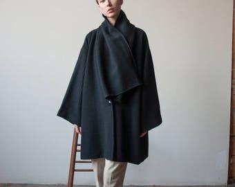 italian mohair wool scarf collar coat / black oversized wool coat / minimalist coat / s / US 6 / 2353o / B20