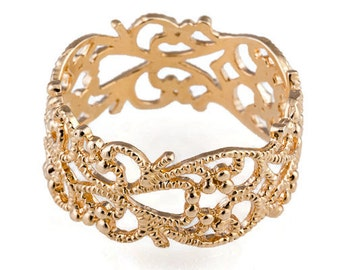Gold ring. Lace ring. Floral gold ring. Dainty gold ring. Wide ring. Filigree ring. Lace gold ring. Filigree gold ring.