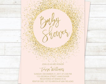Pink Gold Baby Shower Invitation Girl, Baby Shower Invitation Printable, Gold Glitter Baby Shower Invitation, Blush Gold Baby Shower Invite