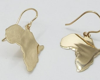 Africa earrings 14k gold  . 5/8 tall with a hook