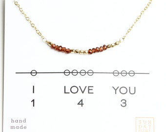 I Love You Gemstone Secret Code Short Necklace - Garnet Gifts for Mom