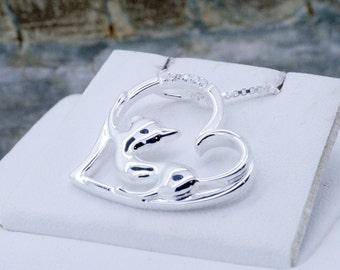 925 Sterling Silber Kitty Katzenliebhaber Herzanhänger mit Zirkone ~ schöne Geschenkidee für Katzenliebhaber ~ Kette & Geschenk-Box enthalten!