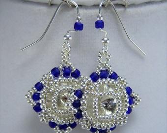 HE395, Cobalt Blue and Crystal Hand Beaded Earrings