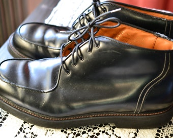 90s Sz 10 Men's Rockport Boots Shoes Made in Portugal Short Oxford Boot  Black Leather Upper