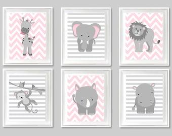 Zoo Nursery Art, Gender Neutral, Baby Room Decor, Baby Shower Gift, Safari, Jungle Decor, Elephant, Lion, Giraffe, Monkey, Rhino, Hippo
