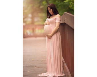 Short Sleeves Maternity Dress-Maternity Dress for Photo Shoot-Long Maternity Dress-Maxi Gown-Pregnancy Dress-SPLIT FRONT CLARISSA Gown