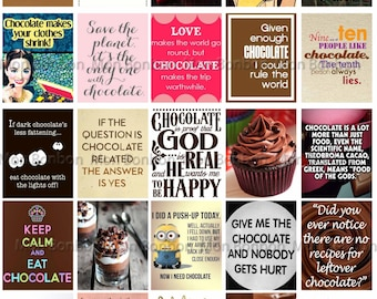 Chocolate Quotes Printable Sheet - Chocolate Inspiration Printable Sticker Sheet - fits Erin Condren Life Planner - DIY Print at Home