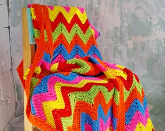 Knit Chevron blanket Crochet baby Blanket Zig Zag Blanket Rainbow baby blanket Gipsy blanket Boho blanket Hippie blanket Baby shower blanket