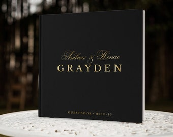 Black and Gold Wedding Guest Book, Black Guest Book, Gold Foil Guest Book, Gold Guest Book, Color Choices Available, GBS116