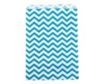 "100 Blue Chevron Merchandise Retail Paper Party Favor Gift Bags 4"" x 6"" Tall"