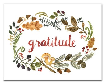 Gratitude ART PRINT, Watercolor Wall Art, Woodland, Inspirational Quote, Hand Lettering, Nature Art, Home Decor by Little Truths Studio