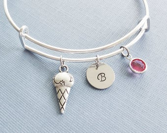 Ice Cream Bracelet, Ice Cream Cone, Silver Initial Bangle, Dessert, Sweet, Personalized, Expandable, Swarovski Birthstone, Friend Birthday