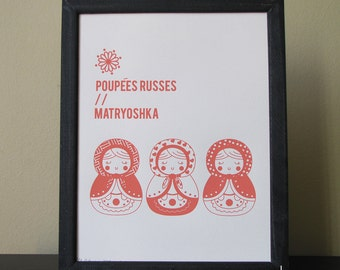 "Limited edition Canson paper screen printing -  Matryoshka 8,5"" x 11"", matryoshka, poster, nursery, kid room, cute, pink"