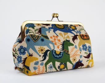 Frame clutch purse - Ponies in blue and green - Cosmetic purse / Japanese fabric / light gray orange yellow navy / Little horses / flowers