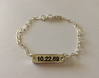 Special Date Bracelet- Double Sided Bar Bracelet - Made to Order