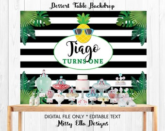 Tropical Party Backdrop, Pineapple Party Backdrop, Personalized Party Backdrop, Printable Backdrop, Dessert Table Backdrop