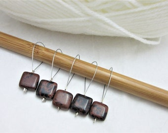Brown Black Obsidian Stitch Markers, Progress Keepers, Knitting, Notions, Pack of 5, Yarn, Fits Most Needles, Knitting Project, Square, Wool