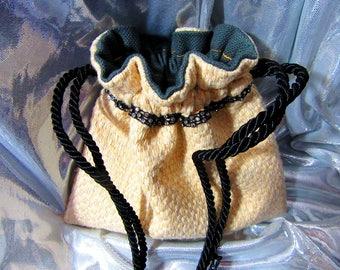 7.5 x 6.5 Ivory Weave Drawstring Bag Black Jeweled Banding Dark Gray Lining