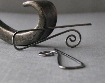 Silver Filled Gunmetal Earrings, Triangle Swirl Ear Wires, Handmade Interchangeable