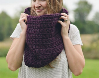 Chunky Crochet Scarf Cowl | The Haven | Chunky Loop Cowl. Chunky Knit Scarf.