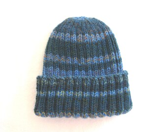 Blue striped hat, striped knit hat, striped beanie, blue watch cap, hand knit toque, ribbed knit hat, striped hat, wool hat, blue wool cap