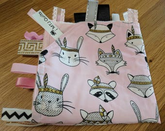 Taggie Baby, taggy, Blankie - security blanket, baby shower soft minky backing Woodland animal heads on pink background