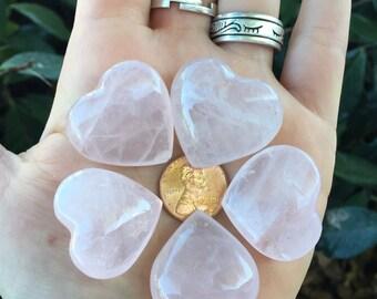 Rose Quartz Pink Love Heart Shaped Rocks set of 5 Crystal Stones