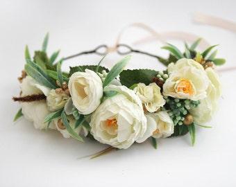 White Flower Crown \ Bridal Headpiece Gold Floral Crown Boho Bridal Flower Halo Ivory Head Wreath Flower Crown Wedding Wreath