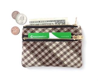 Slim Wallet Pouch Double Zipper Coin Purse Brown Plaid