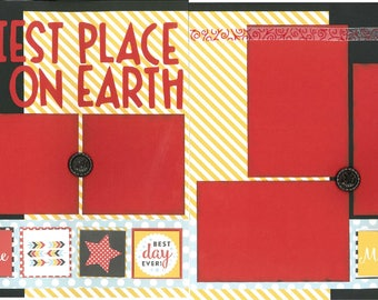 12x12 HAPPIEST PLACE onEARTH scrapbook page kit, disney scrapbook pages, disney scrapbook page kit, 12x12 scrapbook page, scrapbook page kit