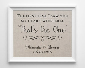 The First Time I Saw You | Linen Print | Love Quote Wedding Gift | Gift for Wife Husband | Linen Anniversary Gift | 4th Anniversary Gift