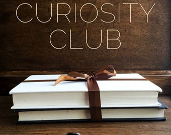 Monthly Book Subscription - THE CURIOSITY CLUB - Vintage Inspired Subscription Box - Second Hand Books