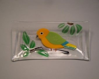 Fused Glass Parrot Tray - 01814