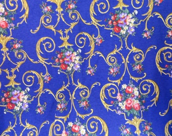 Stretchy Cotton Knit Fabric Royal Blue with French Type Floral Design Bold and Bright Tee Shirt Type Fabric Cotton or Cotton Blend Stretchy