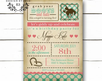 Cowgirl Birthday Party Invitation - Vintage Horse Girl's Party - Shabby Chic Invitations - Rustic - Pink and Turquoise