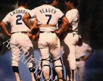 Steve Yeager Lasorda Los Angele Dodgers Art LE 50