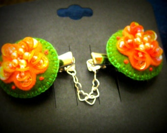 Romantic Orange Flower Sweater Clips