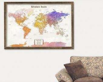 Travel Map Push Pin Travel Map World Push Pin Map World Travel Map Push Pin Personalized Gift for Men Canvas Travel Map Framed World Map Art