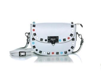 Valentino Grey shoulder bag, leather shoulder bag, grey shoulder bag, casual shoulder bag, grey leather shoulder bag, woman shoulder bags, leather handbags