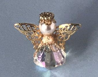 Vintage rhinestone angel pin, faux pearl, 3d angel pin, angel brooch, guardian angel pin, religious pin, angels, angels, angel jewelry