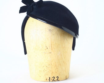Black Velour Fur Felt Headband Fascinator Cocktail Winter Hat, Patent leather piping, Velvet Felt Bow-Couture Millinery/ Kate Middleton