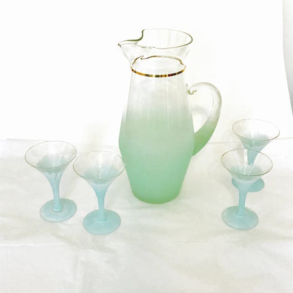 Blendo Glass Set, 60s barware, Large Blendo Pitcher, frosted cocktail glass, aqua blue, stemware martini cordial, 1960s cocktails, Set of 5
