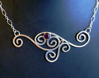 Amethyst & Garnet Sterling Silver Necklace, Swirls, Silver necklace, Christmas Gift, Anniversary, Birthday, Gift for Her, Cyber Sale