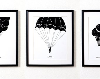 Art Print 3 Pack, Balloons Art Print, Parachute Art Print, Cupcake Art Print, 3 Pack Art Set, Wall Art 3 set, Wall art set, Gallery Wall Art