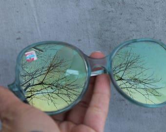 vintage Sunglasses blue  Vintage Eyewear.Big Glasses Metal