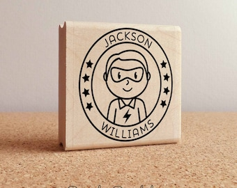 Personalized Superhero Boy Rubber Stamp - Choose Name, Hairstyle and Accessories